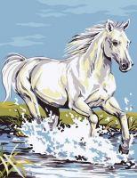 """""""Белая лошадь"""" живопись на холсте 30х40см"""