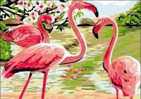 """""""Розовые фламинго"""" живопись на холсте 30х40см"""