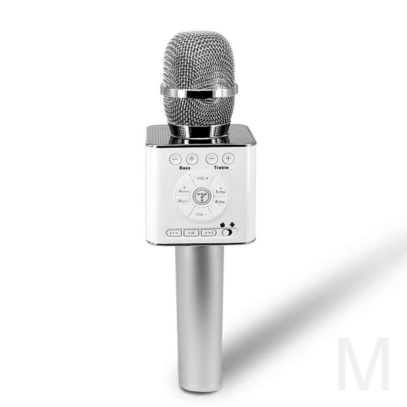 Micgeek Q9 беспроводной микрофон bluetooth для смартфонов, телефонов android и Iphone (серебро)