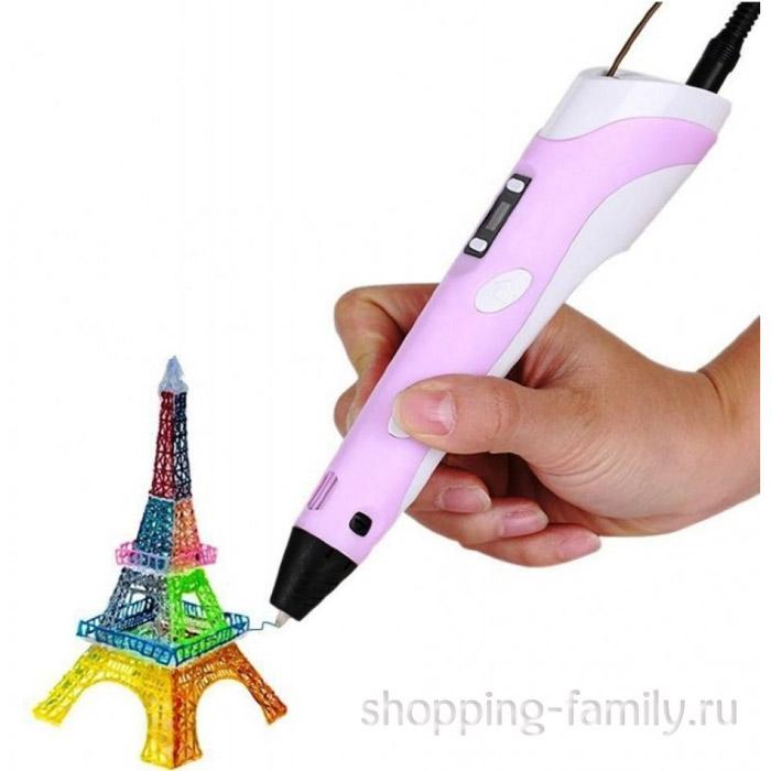 3D ручка c LCD дисплеем (3D Pen-2), цвет Розовый