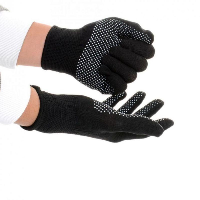 Нейлоновые перчатки с ПВХ точками, 12 пар, цвет черный