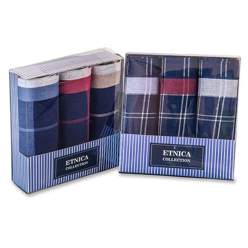 Пд58-3 Мужские носовые платки в подарочной коробке, 3 шт., 100% х/б