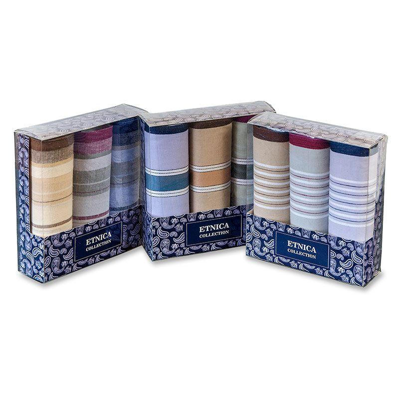 Пд58-2 Мужские носовые платки в подарочной коробке, 3 шт., 100% х/б