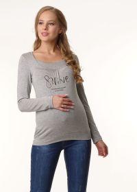 """Лонгслив """"Фредди"""" для беременных и кормящих; цвет: серый меланж/надпись"""