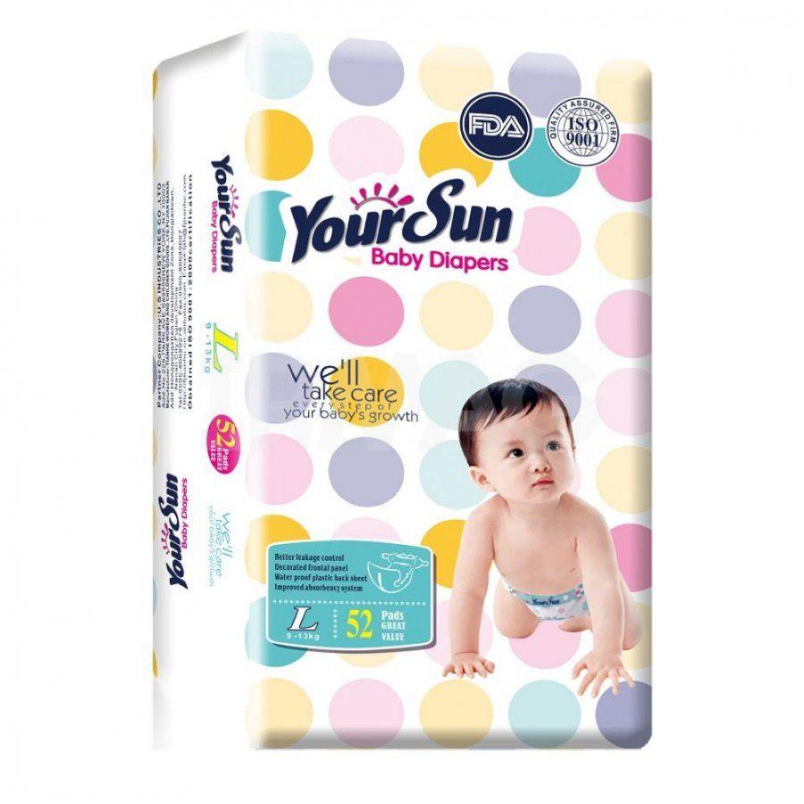 YourSun Подгузники Размер L  52 шт Вес ребенка: 9-13 кг.