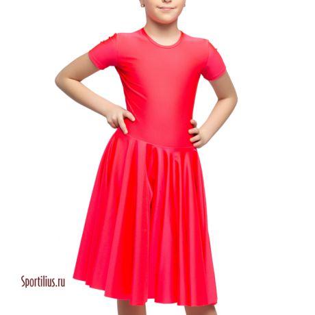 Платье из перламутрового бифлекса, коралловое