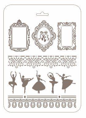 Трафарет прямоугольный РМ-29 Балерины, 20x25 см