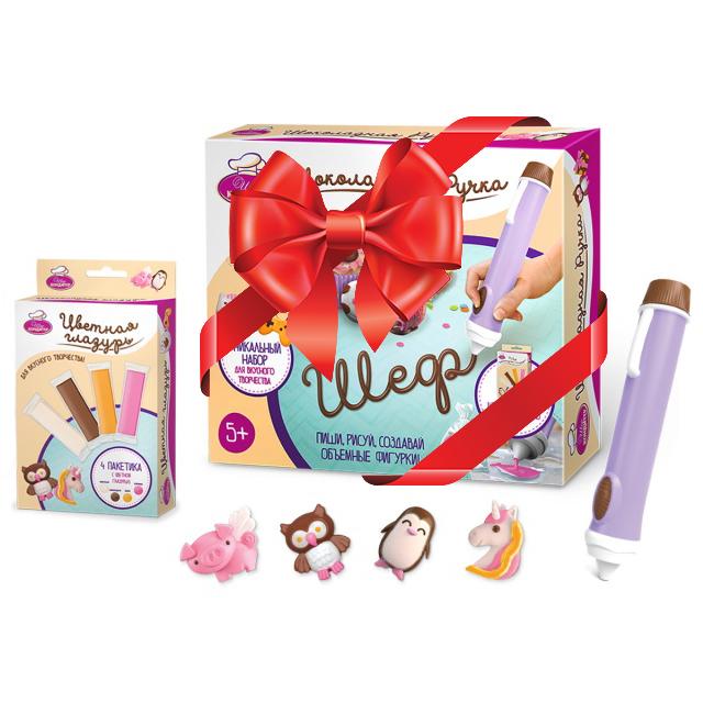 Шеф-Кондитер Набор цветной глазури + Шоколадная Ручка в подарок!