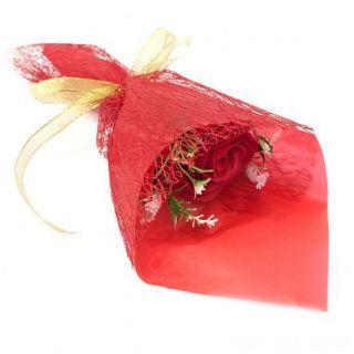 Букет из парфюмированного мыла в бумажной упаковке, 40 см, Красный