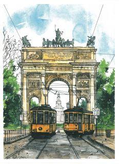Почтовая открытка Арка Мира. Милан