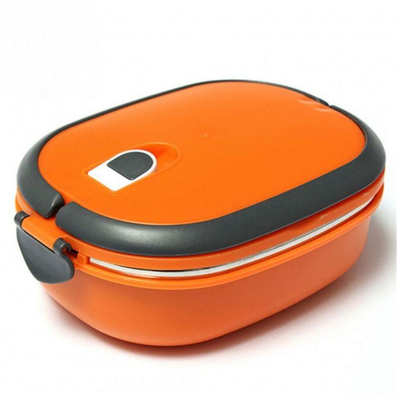 Овальный Термо Ланч-Бокс Из Нержавеющей Стали, 900 Мл, Цвет Оранжевый
