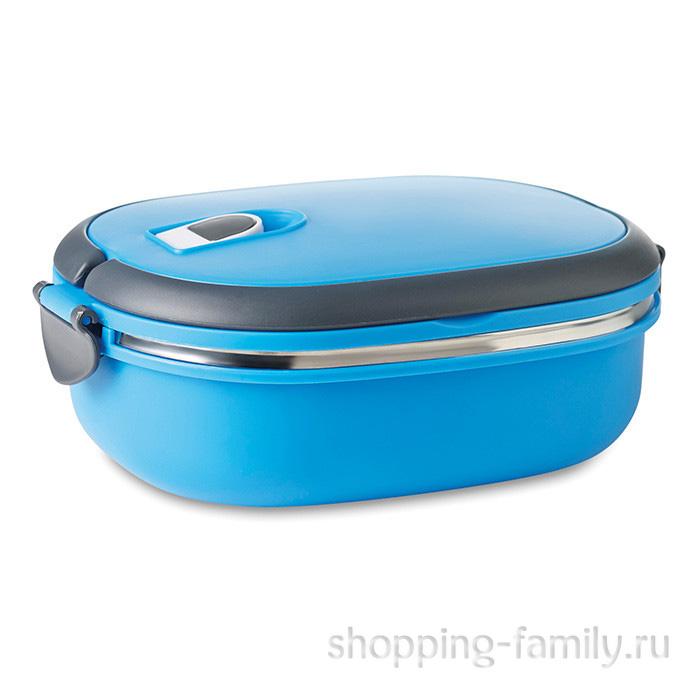 Овальный термо ланч-бокс с защёлками Lunch Box, 900 мл, голубой