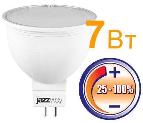 Светодиодная лампа Jazzway MR16 GU5.3 220V 7W(500lm) 4000 диммир. матовая 55x50 4K PLED-DIM JCDR .1035431