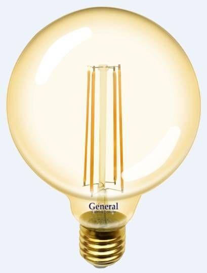 Светодиодная лампа General Шар G95S E27 10W(1025lm) 2700K 2K 95x136 нитевидная, золотая. 655308