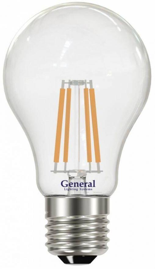 Светодиодная лампа General ЛОН A60 E27 13W(1300lm) 6500K 6K 60x105 филамент (нитевидная) прозр. 649400