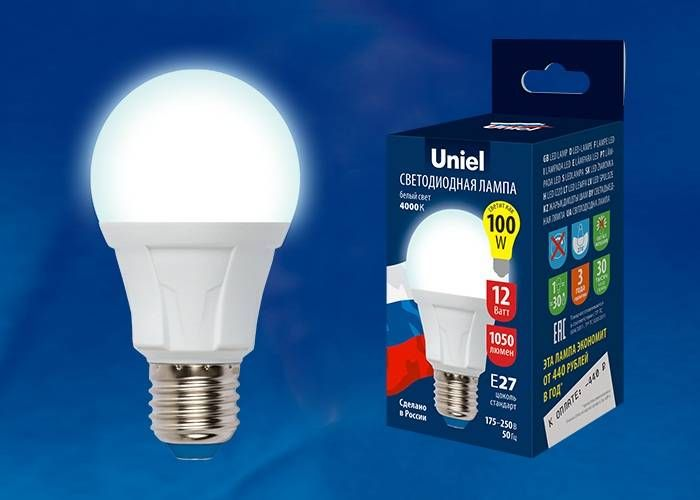 Светодиодная лампа Uniel ЛОН A60 E27 12W(1050lm 270°) 4000K 4K матовая 60x110 термопл. ЯРКАЯ LED-A60 12W/NW/E27/FR РФ