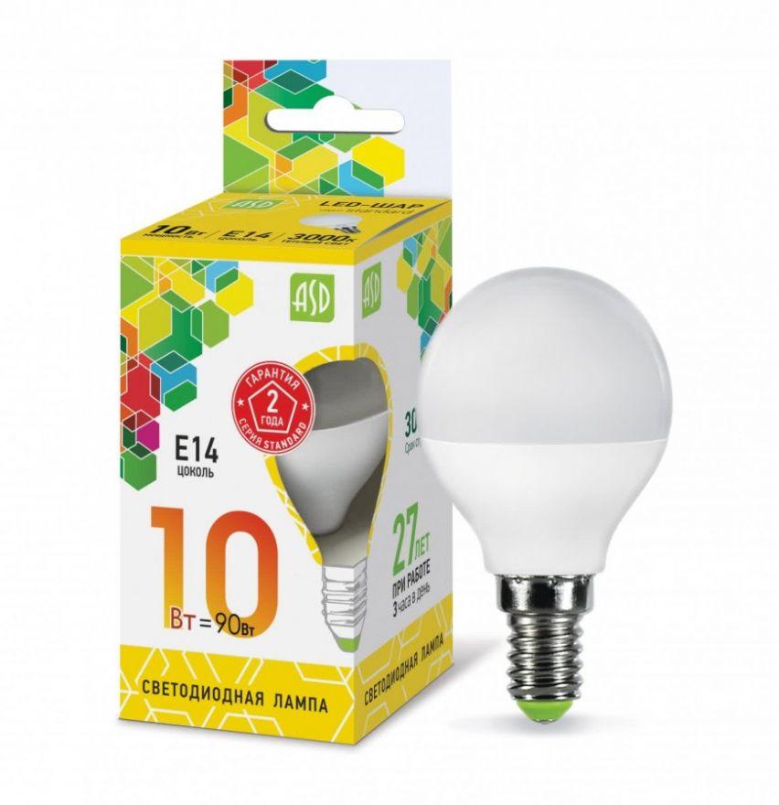Светодиодная лампа ASD шар P45 E14 10W 3000К 2K 78x45 пластик/алюм standard 5446
