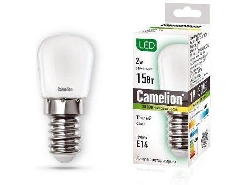 Светодиодная лампа Camelion T26 E14 2W(100lm 220°) 3000K 2K матовая 51x22 для холодильников и вытяжек LED2-T26/830/E14