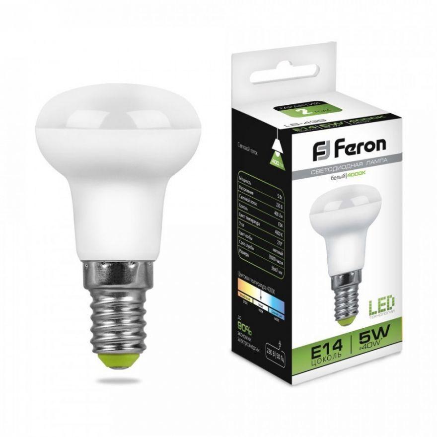 Светодиодная лампа Feron R39 E14 5W(400lm 270°) 4000K 4K прозрачная 67x39, LB-439 25517