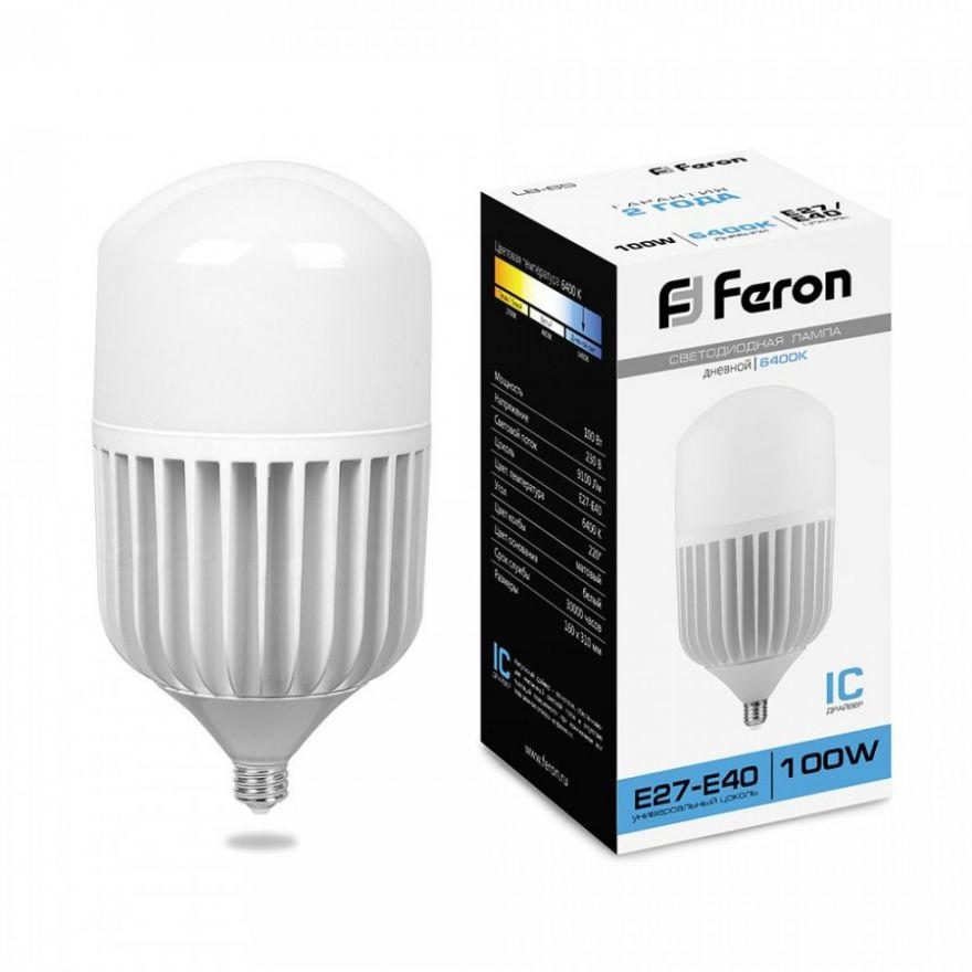 Светодиодная лампа Feron лампа св/д высокомощн. 100W 230V E40 6400K 6K LB-65 25827