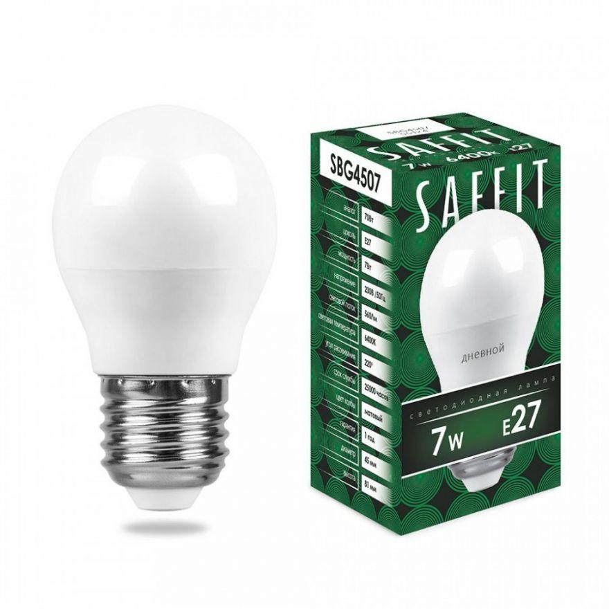 Светодиодная лампа Saffit Лампа св/д, 7W 230V E27 6400K, SBG4507 55124