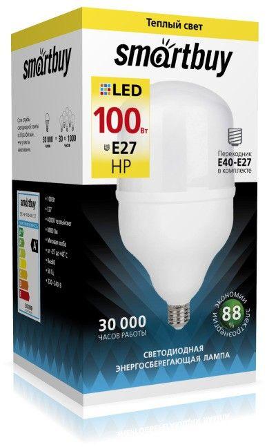 Светодиодная лампа Smartbuy высокомощн. ЛОН E27 100W(8000lm) 4000K 4K 140x258 SBL-HP-100-4K-E27