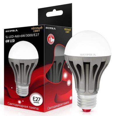 Светодиодная лампа Supra ЛОН A60 E27 6W(480lm) 3000K 2K матовая алюм. SL-LED-A60-6W/3000/E27
