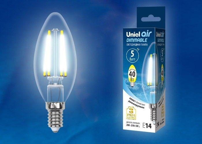 Светодиодная лампа Uniel Air свеча диммир. E14 5W(450lm 360°) 4000K филамент прозр 35x100 LED-C35-5W/NW/E14/CL/DIM
