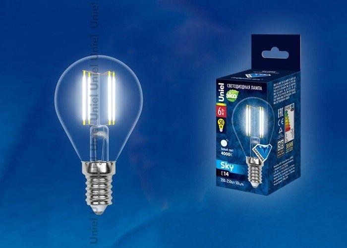 Светодиодная лампа Uniel Air шар G45 E14 6W(610lm 360°) 4000K 45x70 филамент прозр LED-G45-6W/NW/E14/CL