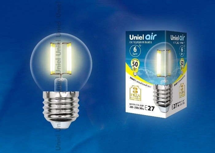 Светодиодная лампа Uniel Air шар G45 E27 6W(610lm 360°) 3000K 45x70 филамент прозр LED-G45-6W/WW/E27/CL