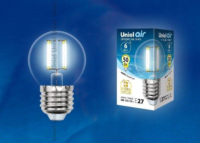 Светодиодная лампа Uniel Air шар G45 E27 6W(610lm 360°) 4000K 45x70 филамент прозр LED-G45-6W/NW/E27/CL
