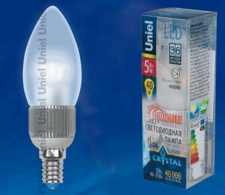 Светодиодная лампа Uniel Crystal свеча диммир. E14 5W(410lm 360°) 4000K 37x112 матовая LED-C37P-5W/NW/E14/FR/DIM
