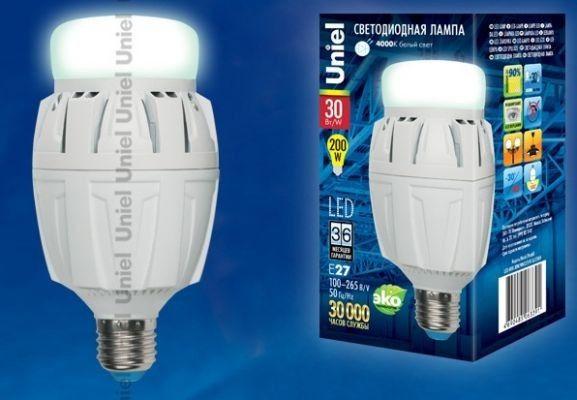 Светодиодная лампа Uniel высокомощн. E27 30W(2600lm 180°) 4000K 4K алюм/матов. 155x78 LED-M88-30W/NW/E27/FR