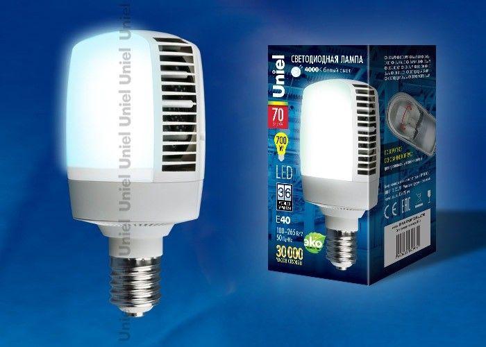 Светодиодная лампа Uniel высокомощн. E40 70W(6800lm 180°) 4000K 4K алюм/матов. 105x210 LED-M105-70W/NW/E40/FR ALV02WH