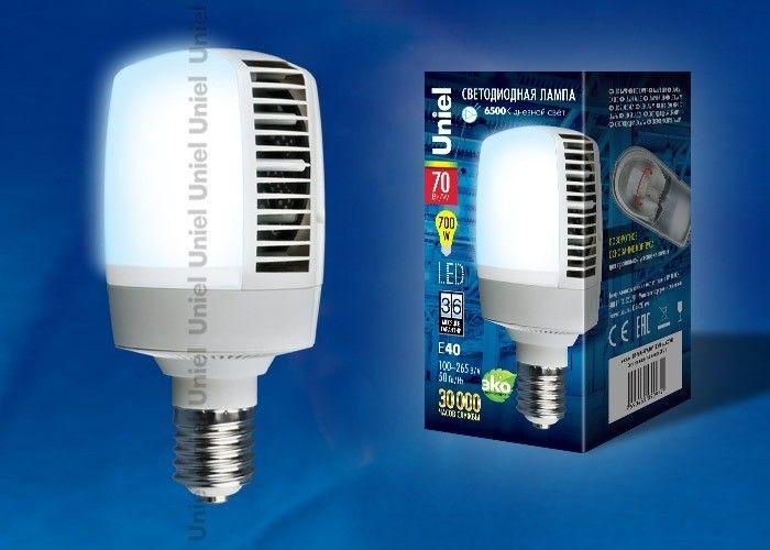 Светодиодная лампа Uniel высокомощн. E40 70W(6800lm 180°) 6500K 6K алюм/матов. 105x210 LED-M105-70W/DW/E40/FR ALV02WH