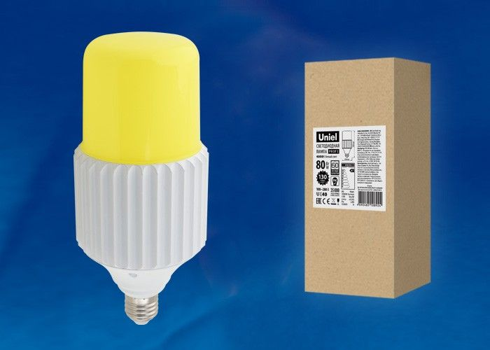 Светодиодная лампа Uniel высокомощн. E40 80W(10000lm) 4000K металл 280x126 удал.люминофор LED-MP200-80W/4000K/E40/PH