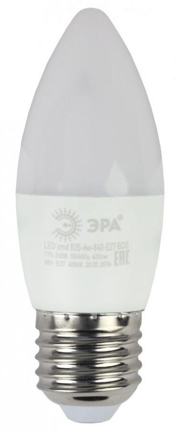 Светодиодная лампа ЭРА eco свеча C37 E27 6W(480lm) 4000K 4K 110x37 B35-6w-840-E27  7275