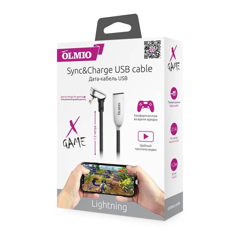 Кабель OLMIO X-GAME Lightning - USB 2.0 для iPhone, iPod, iPad, 1.2 м, 2.1 A