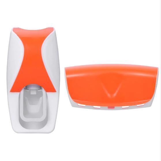 Автоматический дозатор зубной пасты + держатель для щёток, цвет оранжевый
