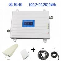 Трехдиапазонный усилитель сигнала 2G GSM/3G/4G (900/2100/2600 мГц) с монитором - комплект