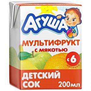 Сок Агуша Мультифруктовый с мякотью для детей с 6 месяцев, 200мл