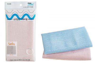 Pure Мочалка для душа 28х100,  мягкая,хлопок (розовая, зеленая, голубая), 1шт