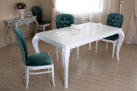 Стол Квантум белый с тёмными стульями