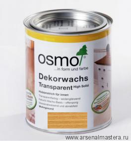 Прозрачная краска на основе цветных масел и воска для внутренних работ Osmo Dekorwachs Transparent 3164 Дуб 0,125 л
