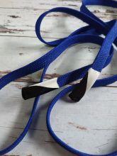 Плоский шнурок 1 см СИНИЙ с силиконовым наконечником